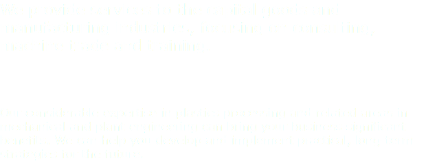 We provide services to the capital goods and manufacturing industries, focusing on consulting, machine trade and training. Our considerable expertise in plastics processing and related areas in mechanical and plant engineering can bring your business significant benefits. We can help you develop and implement practical, long-term strategies for the future.